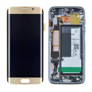 Γνήσια Οθόνη με Μηχανισμό Αφής Για Samsung SM-G935F Galaxy S7 Edge Χρυσή GH97-18533C